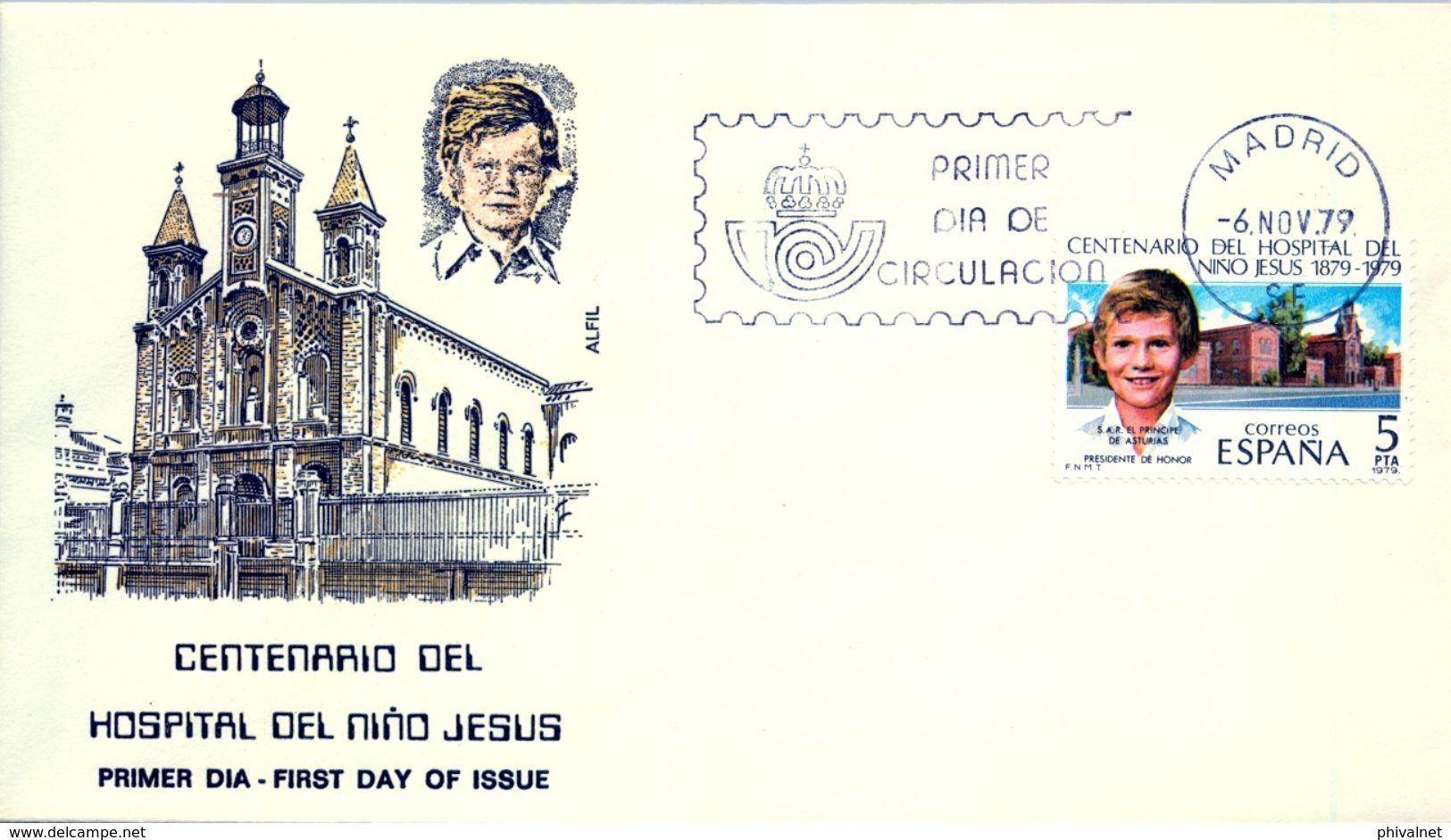 1979 , SOBRE DE PRIMER DIA , ED. 2548 , CENTENARIO DEL HOSPITAL NIÑO DE JESÚS - FDC