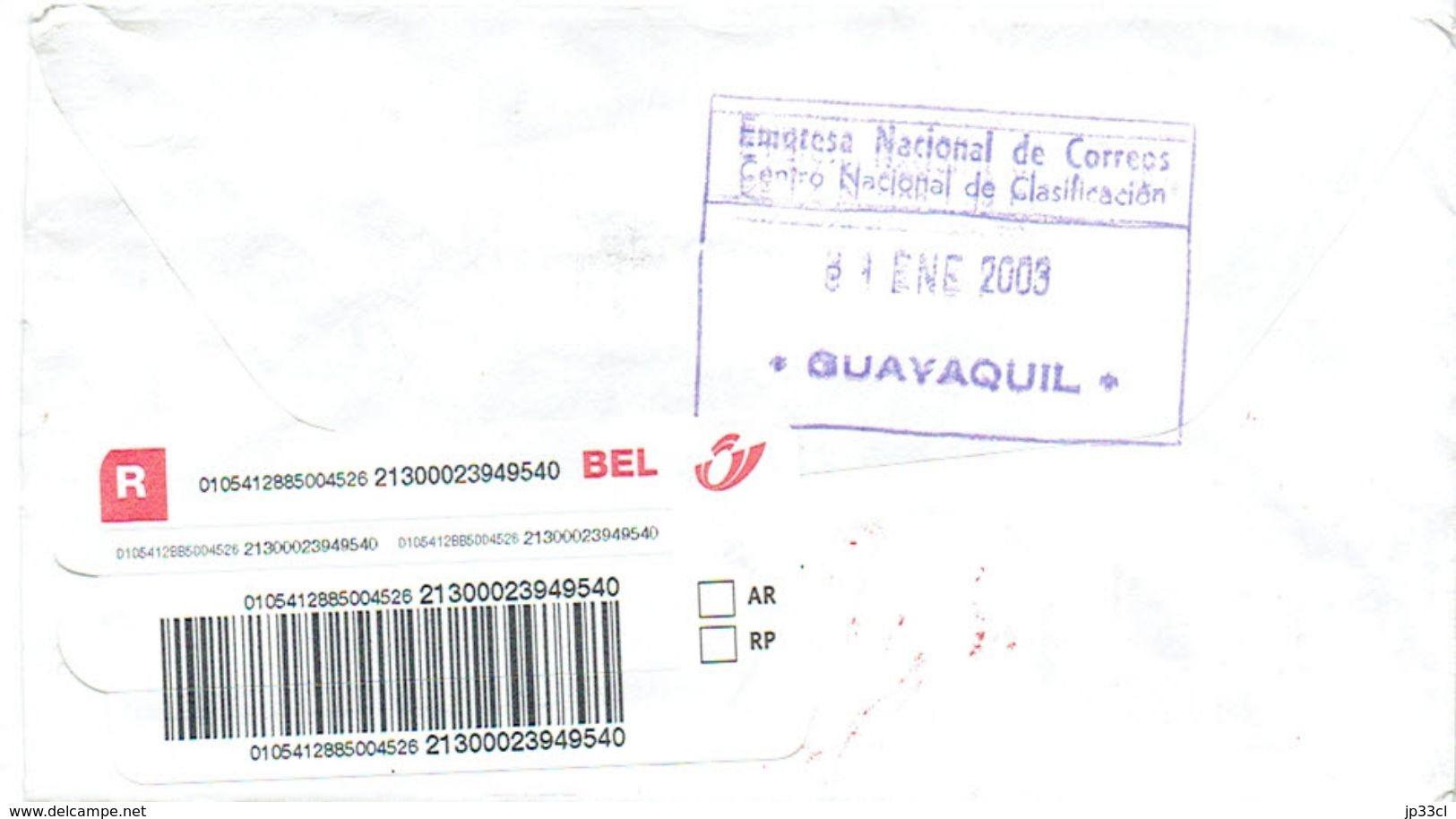 Lettre Recommandée De Guayaquil, Equateur (Ecuador) Avec Timbres Football Futbol Du 30/1/2003 Vers La Belgique - Equateur