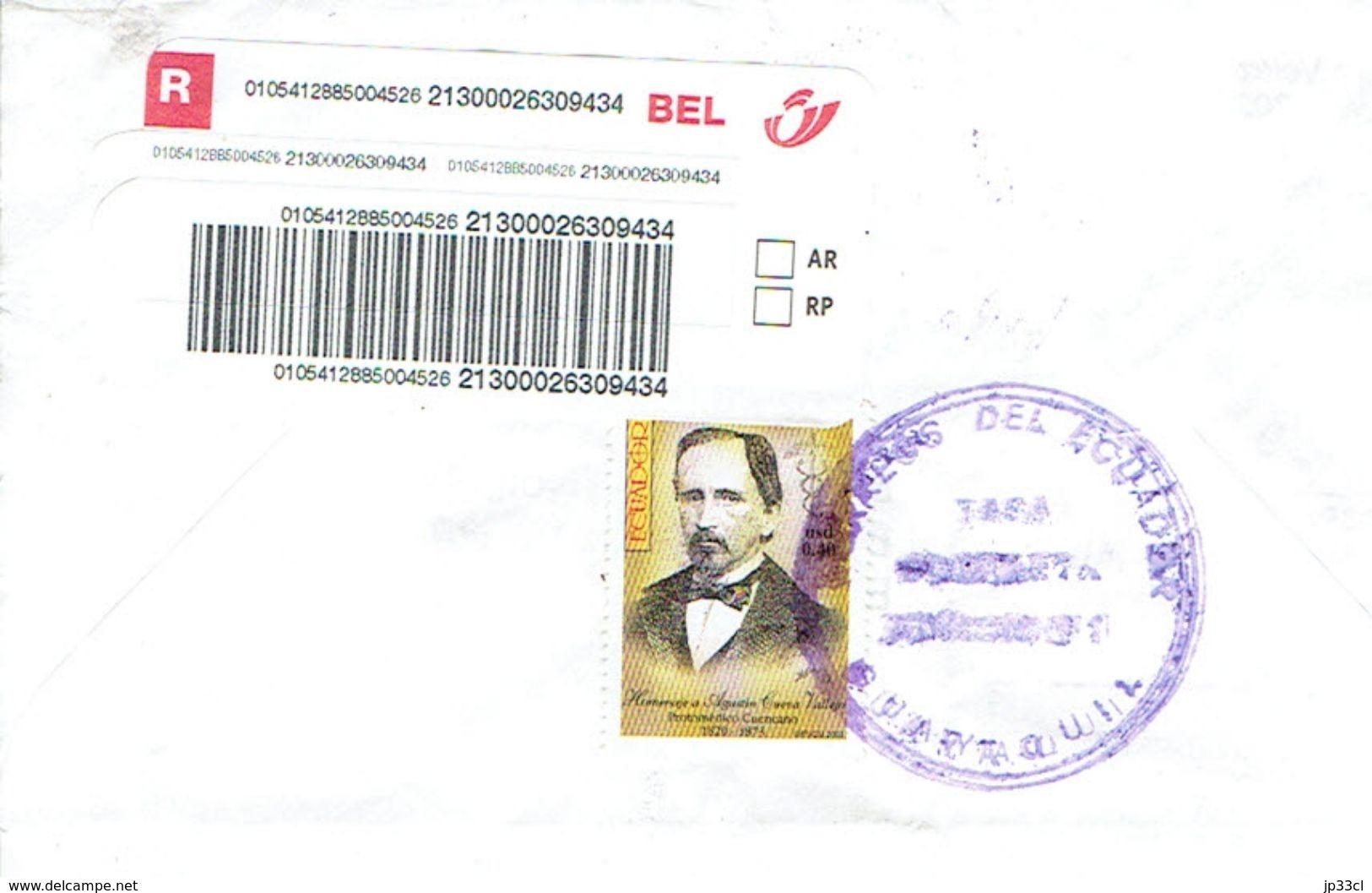 Lettre Recommandée De Guayaquil, Equateur (Ecuador) Avec 5 Timbres Augustin Cueva Vallejo Vers La Belgique (2003) - Equateur