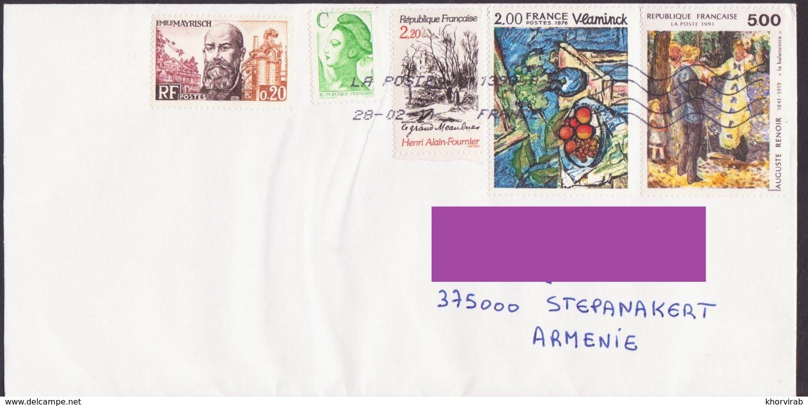 FRANCE COVER RENOIR POSTED TO ARTSAKH NAGORNO KARABAKH ARMENIA - France