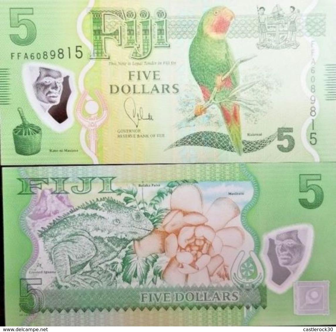 C) FIJI BANK NOTE 5 DOLLARS UNC ND 2012 POLYMER NOTE - Fidji