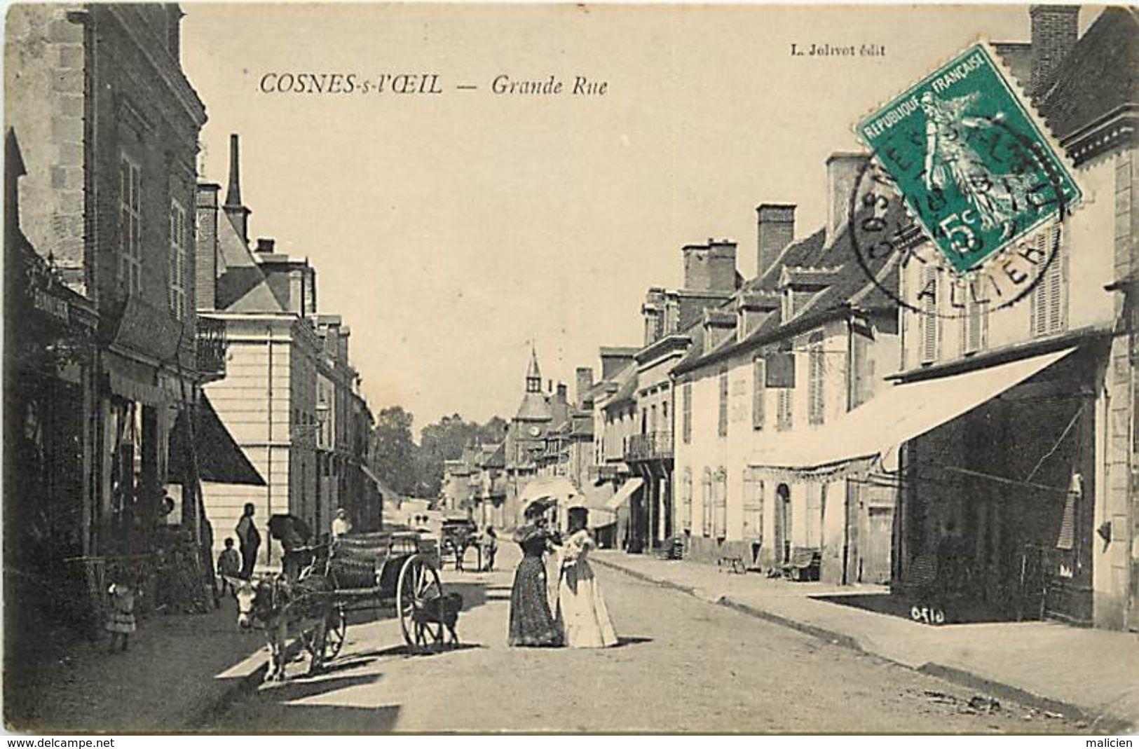 - Allier - Ref- C76- Cosne Sur L Oeil - Cosne D Allier - Grande Rue - Magasins - Attelages - Femmes En Toilette - - Autres Communes