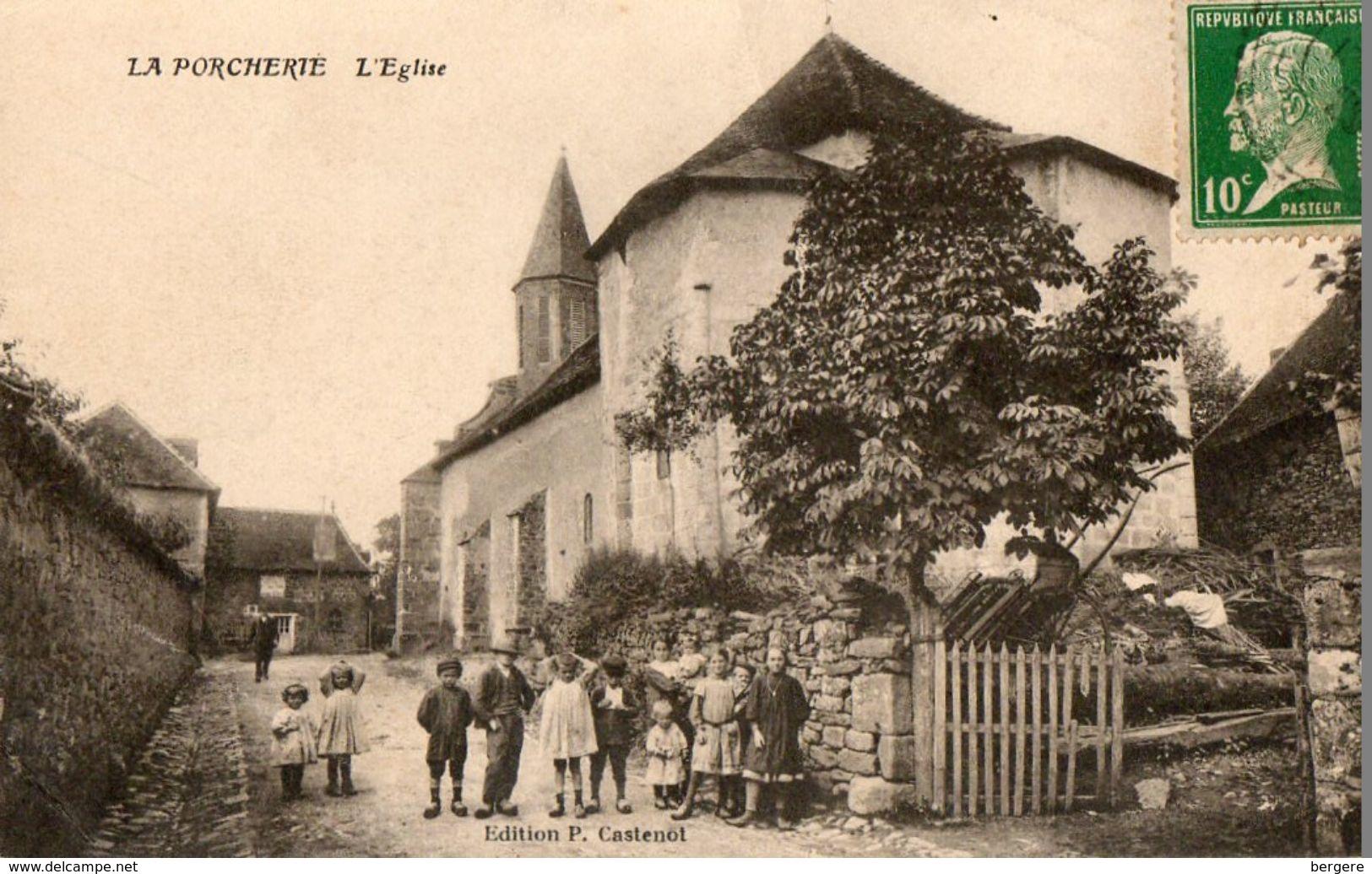 CPA LA PORCHERIE. L'église. Enfants, 1923. - France