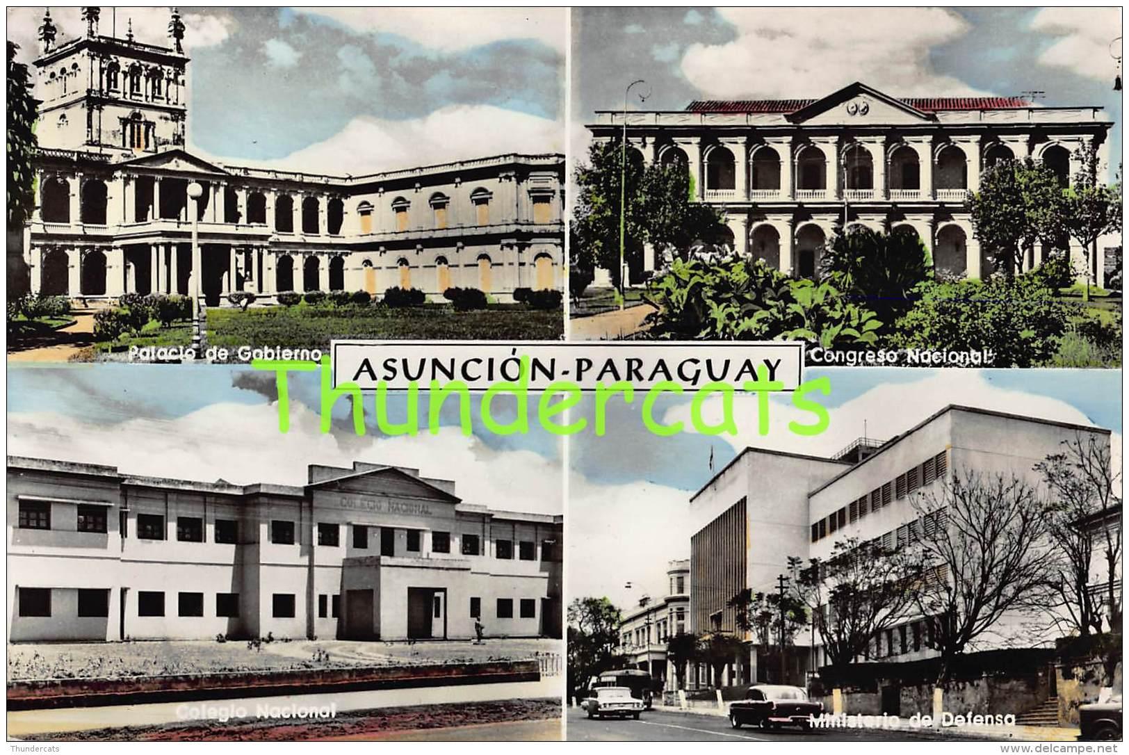 CPSM CARTE DE PHOTO ASUNCION PARAGUAY PALACIO DE GOBIERNO COLEGIO NACIONAL MINISTERIO DE DEFENSO - Paraguay