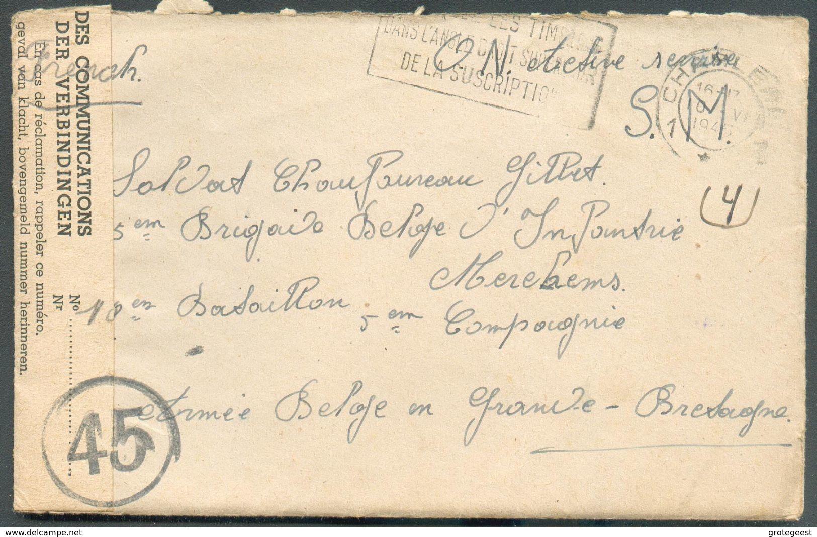 Env. De CHARLEROI Le 10-VI-1945  Au SOldat GILLET 5ème Brigade D'Infanterie 10è Bataillon 5ème Compganie A.B. En Grande- - Weltkrieg 1939-45