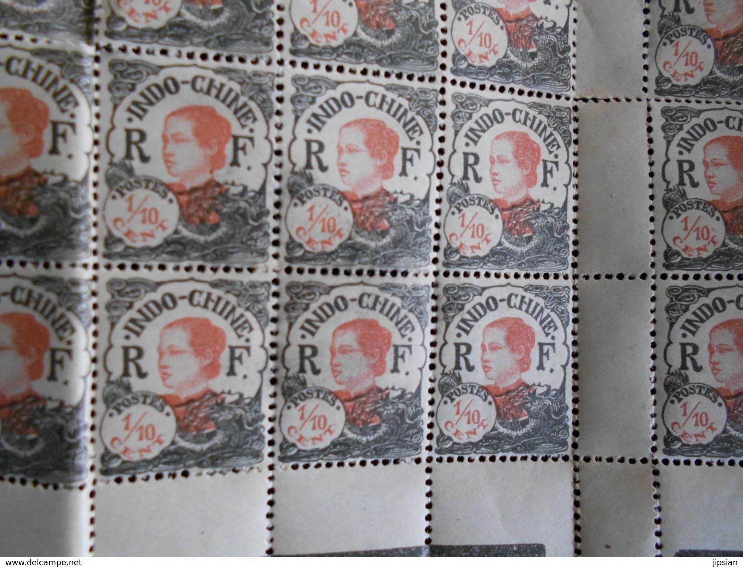 Partie De Planche De Timbres Indochine 1/10 Cent    MARS18-11 - Kambodscha