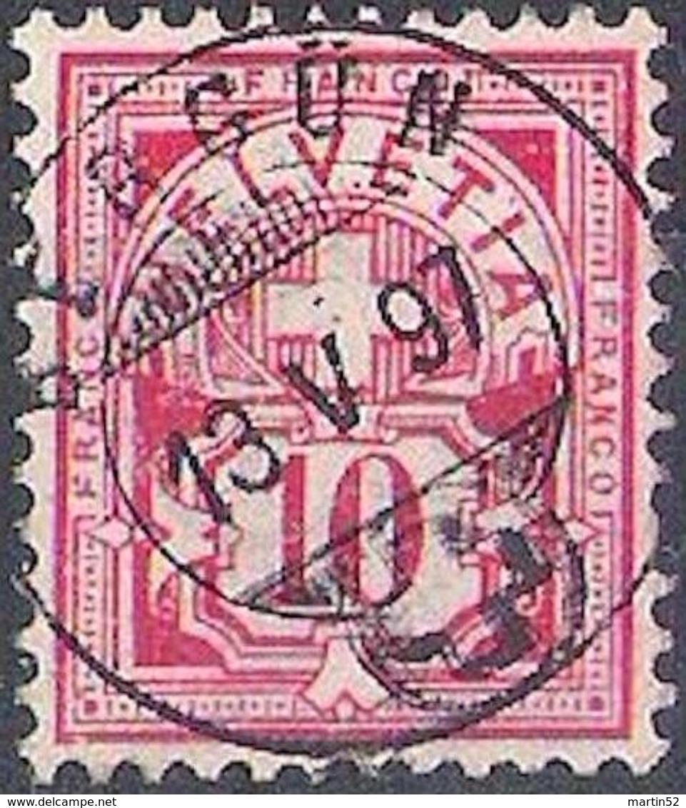Schweiz Suisse 1894: Faserpapier Mélée: Zu 61B Mi 54Y Yv 65 / 10c  Mit Zentral-o BERGÜN 13.V.97 (Zu CHF 0.75) - 1882-1906 Armoiries, Helvetia Debout & UPU