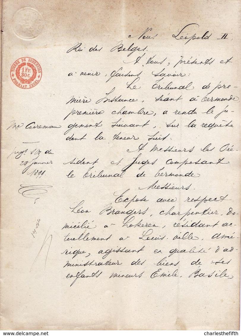 1899 - JUGEMENT TRIBUNAL DE TERMONDE ( Dendermonde ) - Leon Brangers ( Lokeren ) Résidant à Louisville - Enfants Mineurs - Documentos Históricos