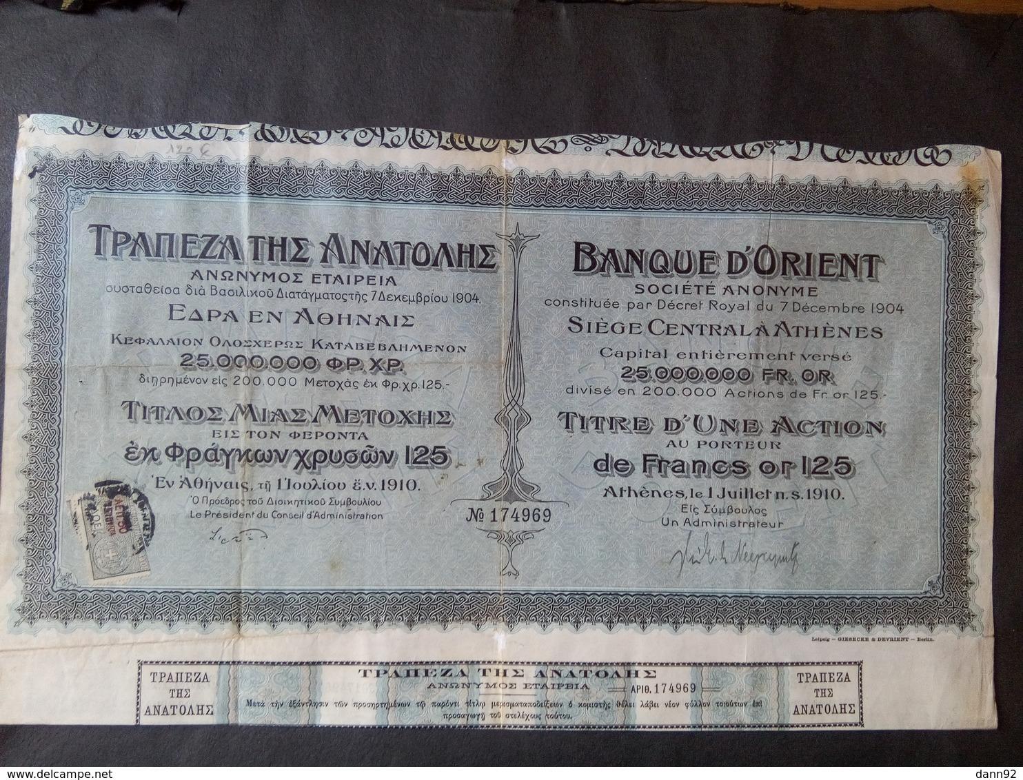 1 Banque D'ORIENT 1910 +  Coupons   ( Gréce ) - Autres
