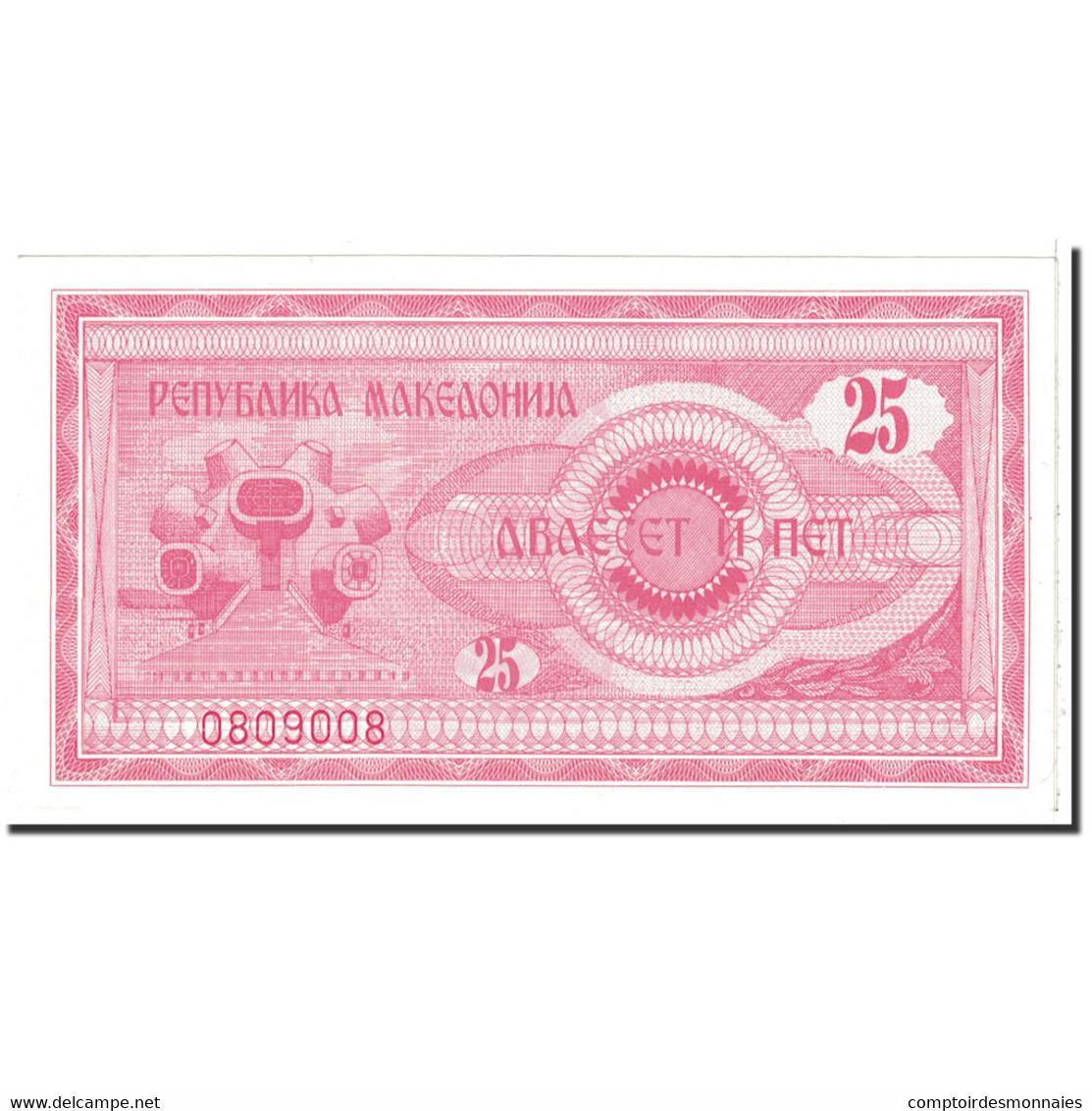 Billet, Macédoine, 25 (Denar), 1992, Undated, KM:2a, SPL+ - Macédoine