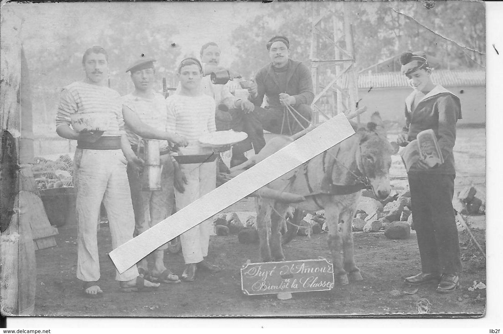 1921 Corse Ajaccio Soldats Français Marins Sur Le Quai Avec Un Attelage Tiré Par Un âne 1 Carte Photo Marine - War, Military