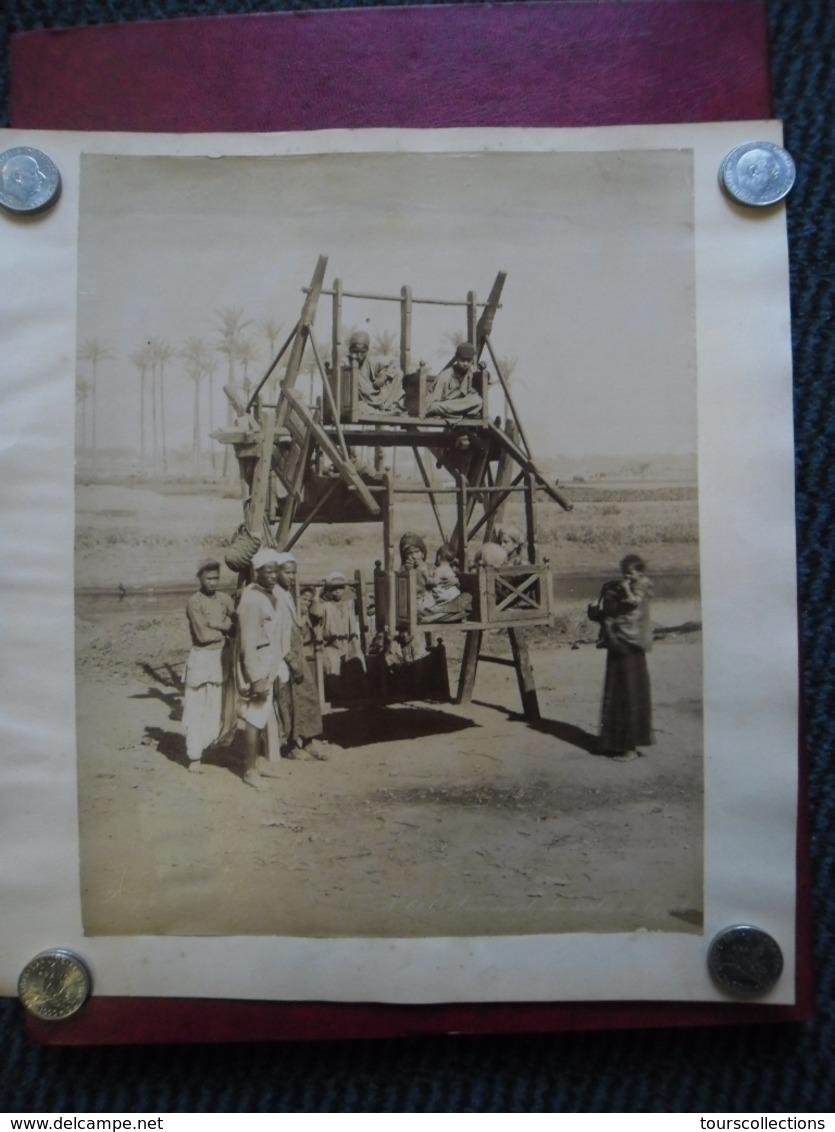 PHOTO RARE Afrique Jeu Loisir Vers 1905 Légendée Amusement Des Arabes En EGYPTE @ 30,9 Cm X 27,2 Cm - Afrique