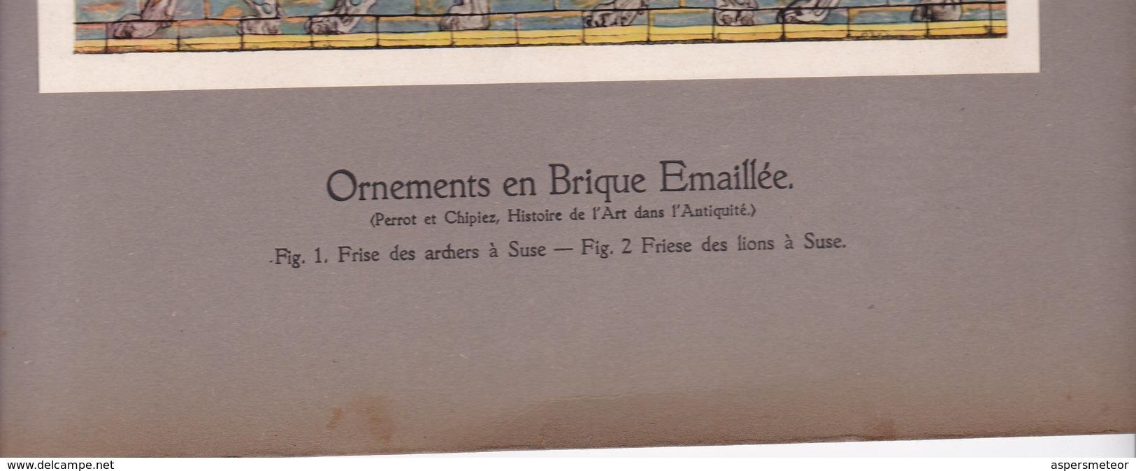 ORNEMENTS EN BRIQUE EMAILLEE, PERSE.-LAMINA SHEET PLANCHE-BLEUP - Afiches