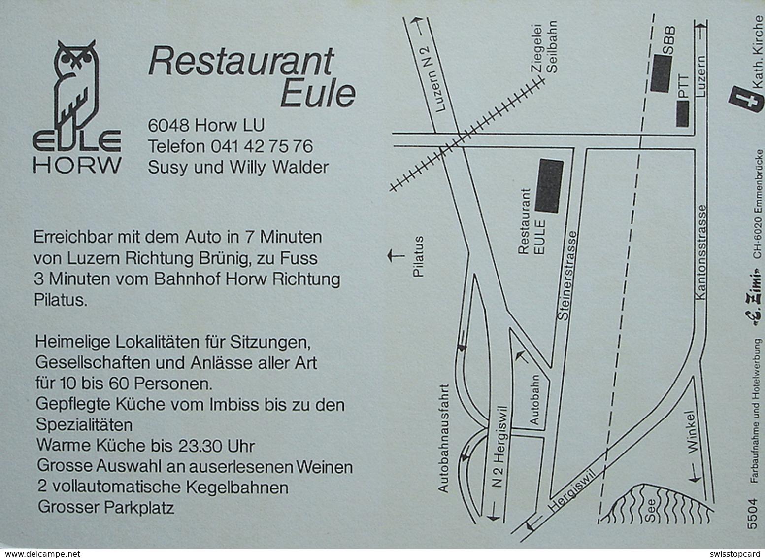 HORW LU Werbung Restaurant Eule Susy Und Willy Walder Warteck Bier - LU Luzern