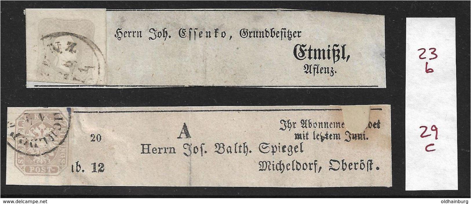 1558b: Zeitungsmarken 23 B Und 29 C Auf Schleifen, ANK- Bzw. Michelwert 820.- Euro - Briefe U. Dokumente