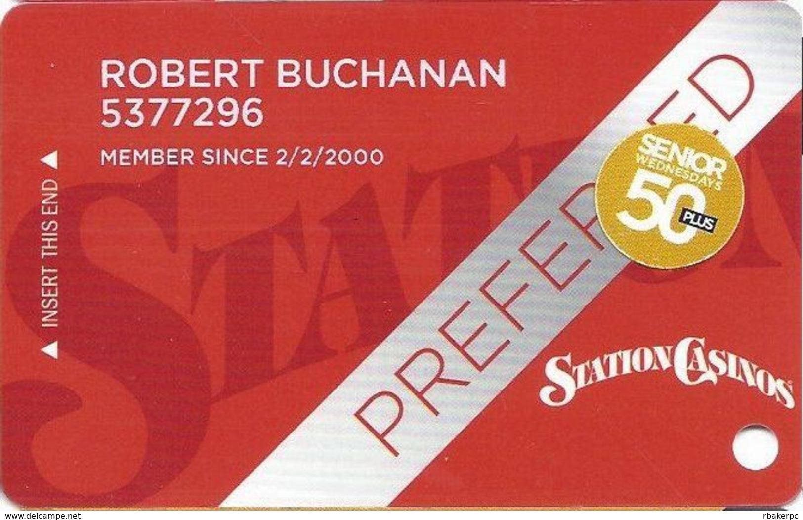 Station Casinos Las Vegas, NV - Slot Card Copyright 2012 - Preferred / 50+ Senior - Casino Cards