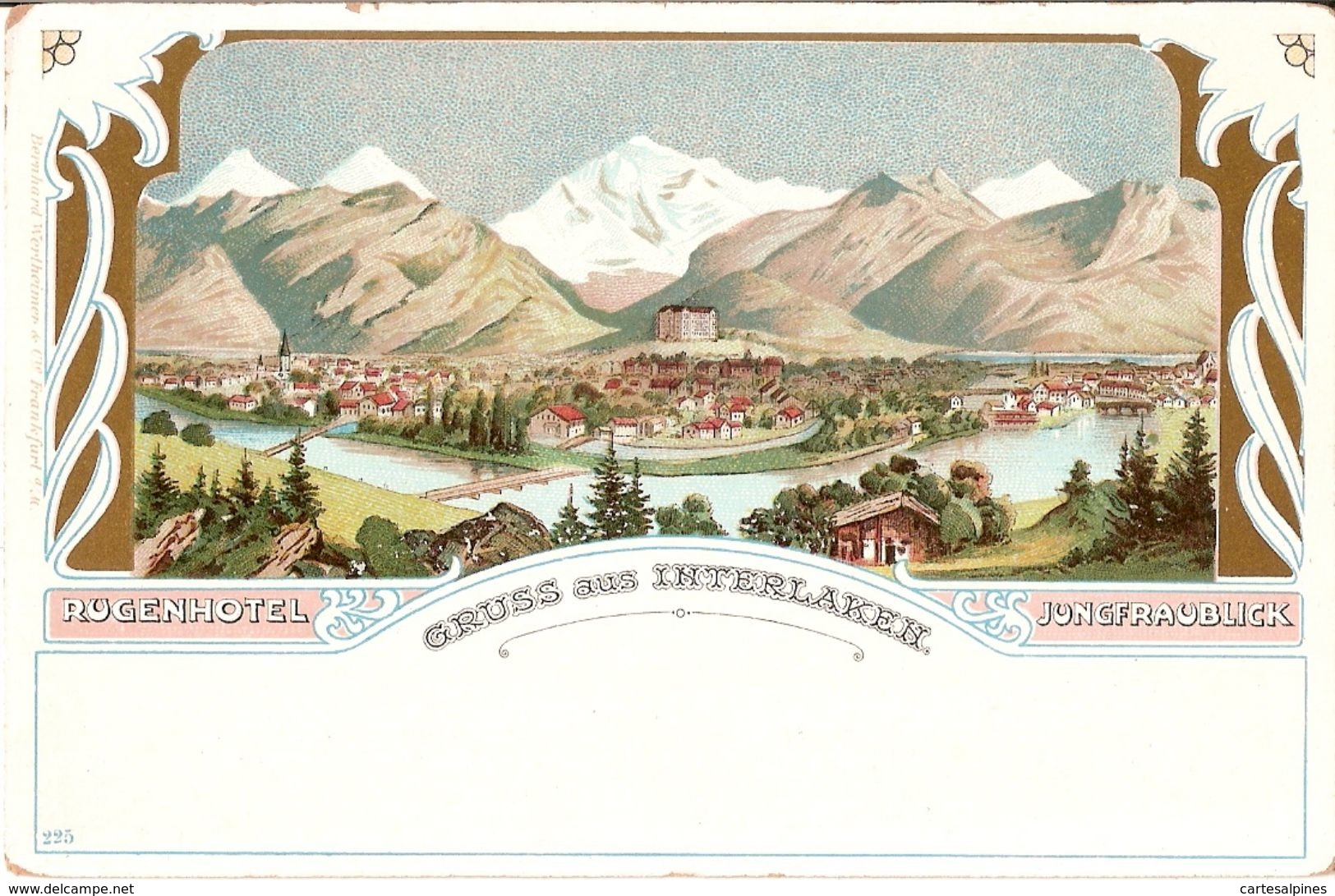 (Suisse) Gruss Aus Interlaken. Rugenhotel. Carte Lithographiée, Vers 1900 - BE Berne