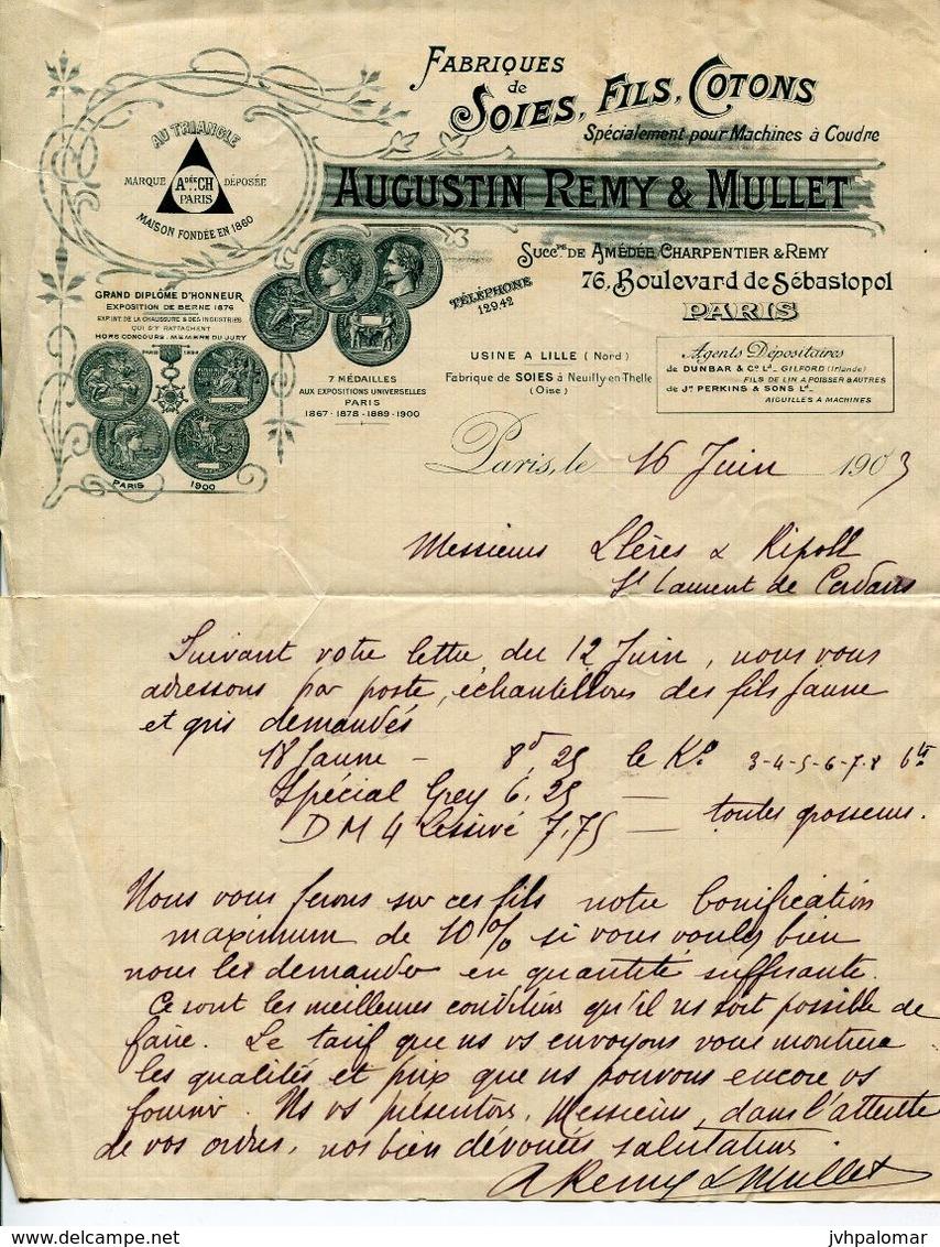 LETTRE-FABRIQUES DE SOIES,FILS,COTONS- PARIS 1903- - Textilos & Vestidos