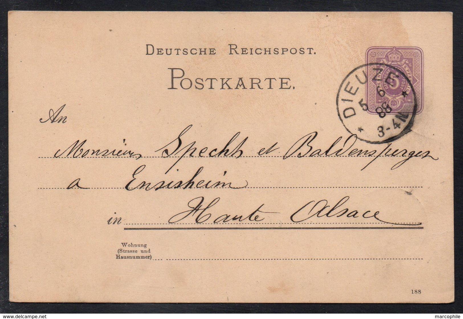 DIEUZE - MOSELLE / 1888 ENTIER POSTAL POUR ENSISHEIM - ALSACE (ref LE2193) - Elsass-Lothringen