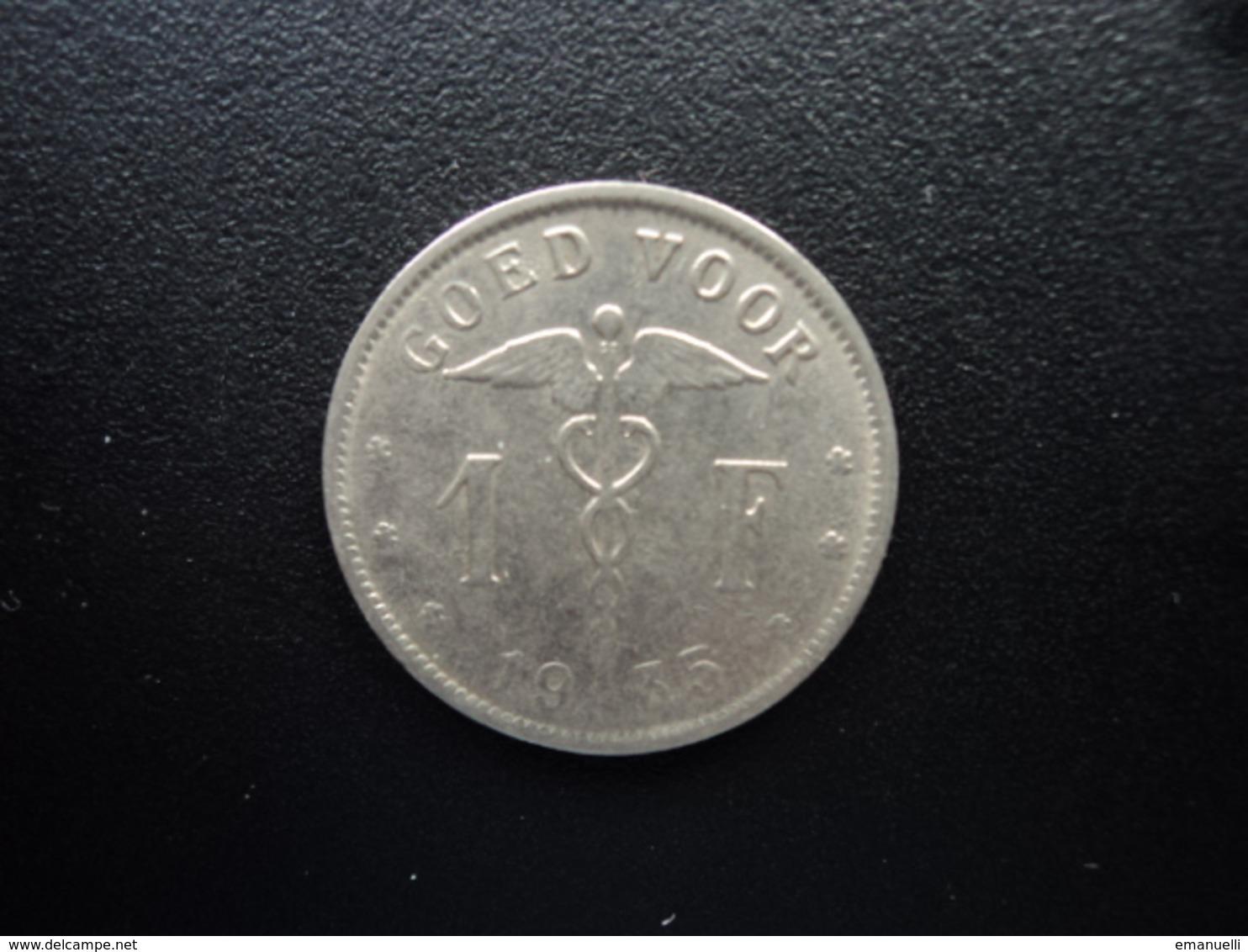 BELGIQUE : 1 FRANK  1935   KM 90    TTB - 1934-1945: Leopold III