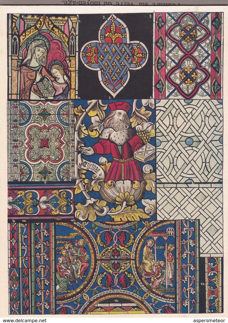 L'ORNAMENT DU MOYEN AGE EN ANGLETERRE, PEINTURE SUR VERRE DU MOYEN AGE.-ART LAMINA SHEET PLANCHE-BLEUP - Afiches