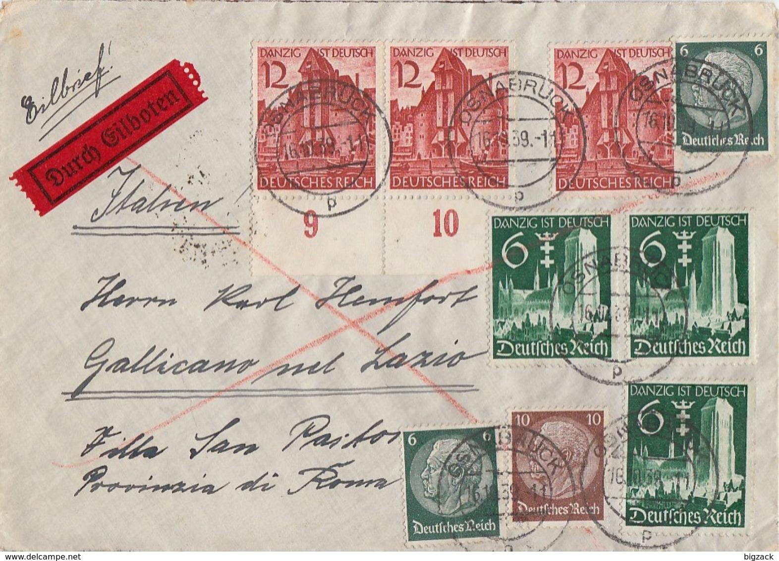 DR Brief Eilbote Mif Minr.2x 516,518,3x 714,3x 715 Osnabrück 16.10.39 Gel. Nach Italien - Briefe U. Dokumente