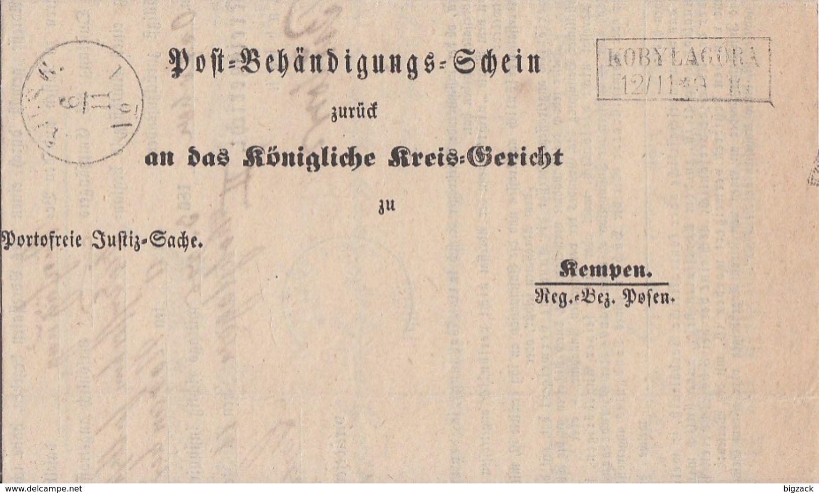 Preussen Post-Behändigungs-Schein R2 Kobylagora 12.11 Gel. Nach Kempen Reg. Bez. Posen - Preussen