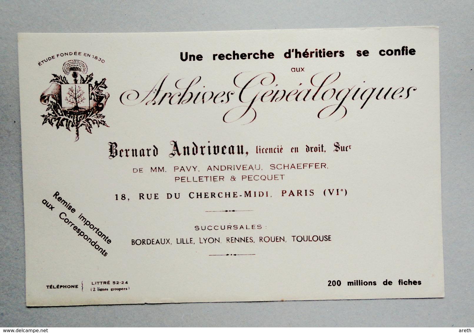 Buvard Archives Généalogiques Andriveau 18, Rue Du Cherche-Midi Paris - G