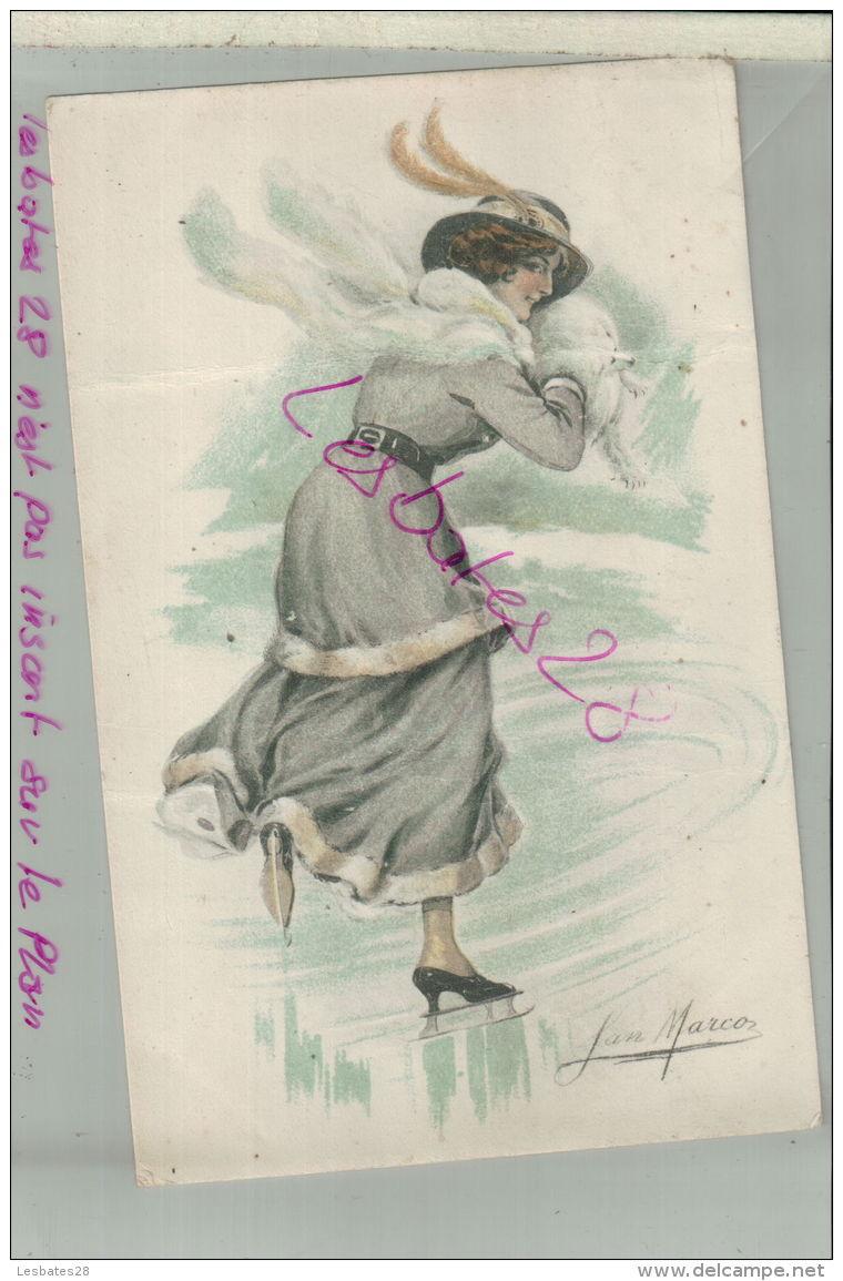 CP Illustration De Mode Femme Au  Chapeau Signée Jan Marcoz   M 2018 1129 - Andere Zeichner
