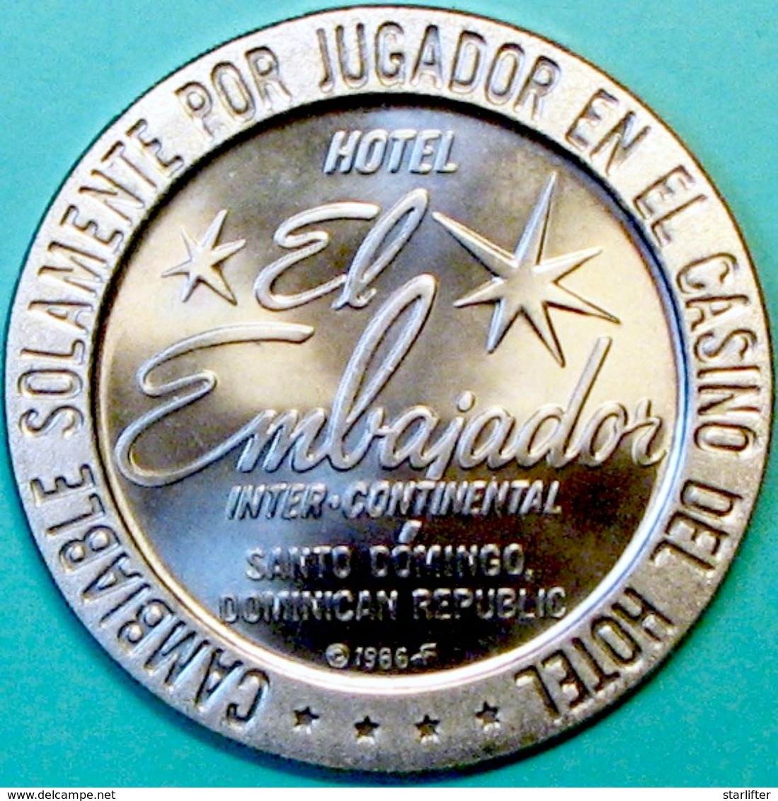 $1 Casino Token. El Embajador, Dominican Republic. 1966 NEW. D40. - Casino