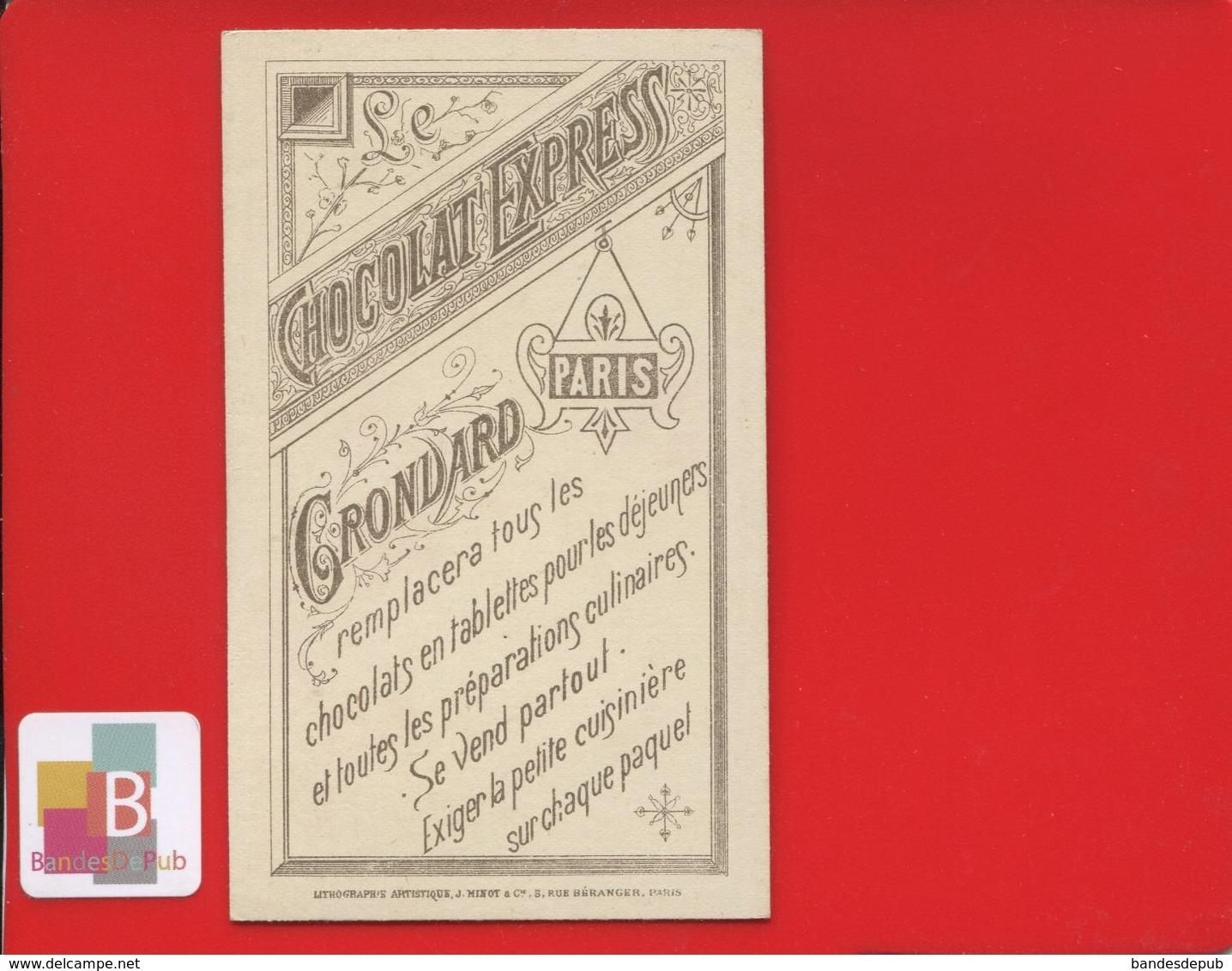 Chocolat Express Grondard Paris Jolie Chromo Magie Ombres Chinoise Croquemitaine Cartes Jouer Jeu Lampe Lith Minot - Chocolat