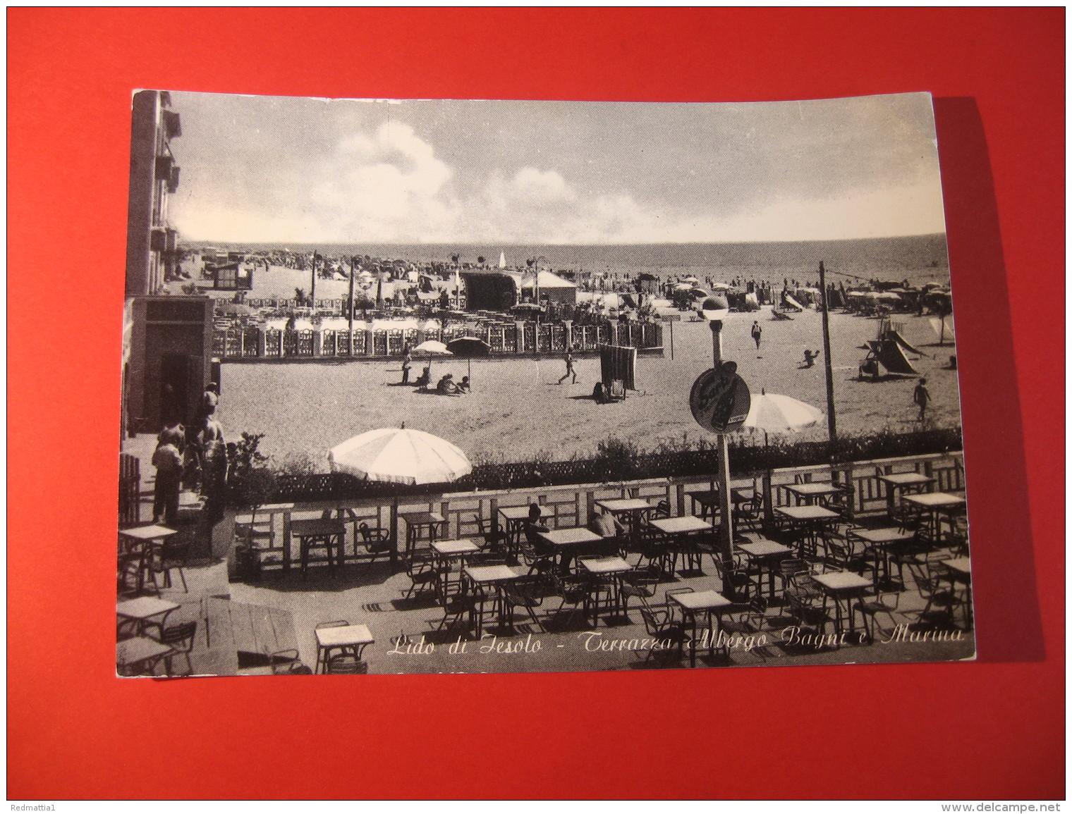 CARTOLINA   LIDO DI IESOLO TERRAZZA ALBERGO BAGNI E MARINA     ANIMATA    D - 3871 - Venezia