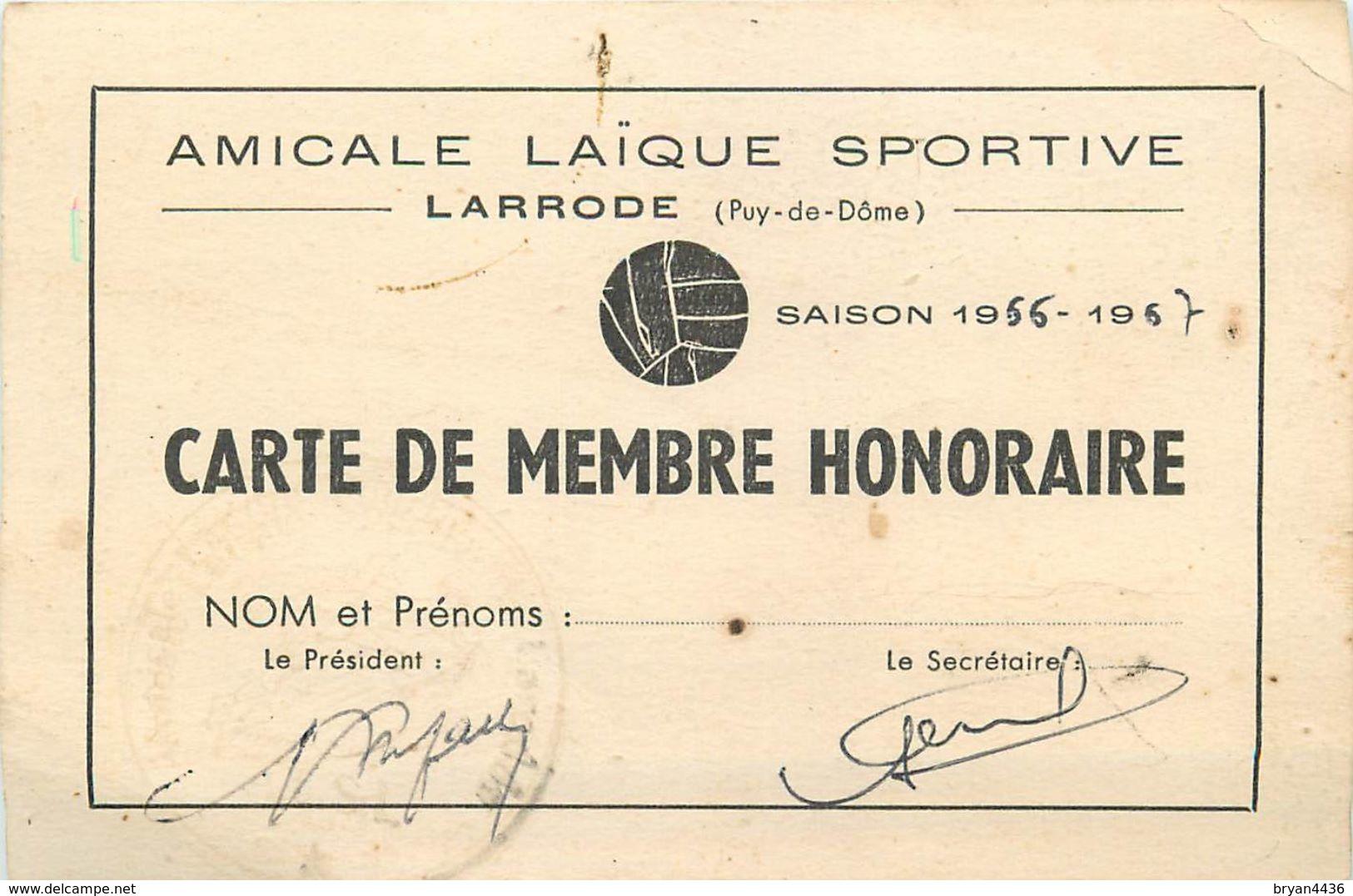 63 - LARRODE - AMICALE LAÏQUE SPORTIVE DE LARRODE - CARTE DE MEMBRE ANCIENNE (8 X 12 Cm). - France
