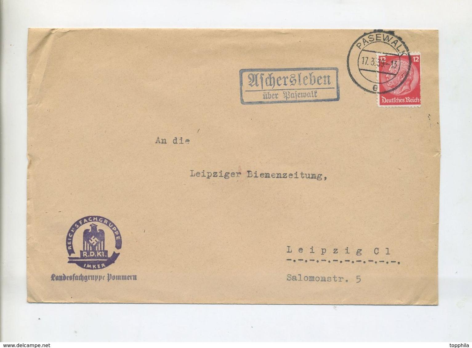 1939 3.Reich Brief Der Reichsfachgruppe Imker Landesgruppe Pommern Von Aschersleben über Pasewalk - Deutschland