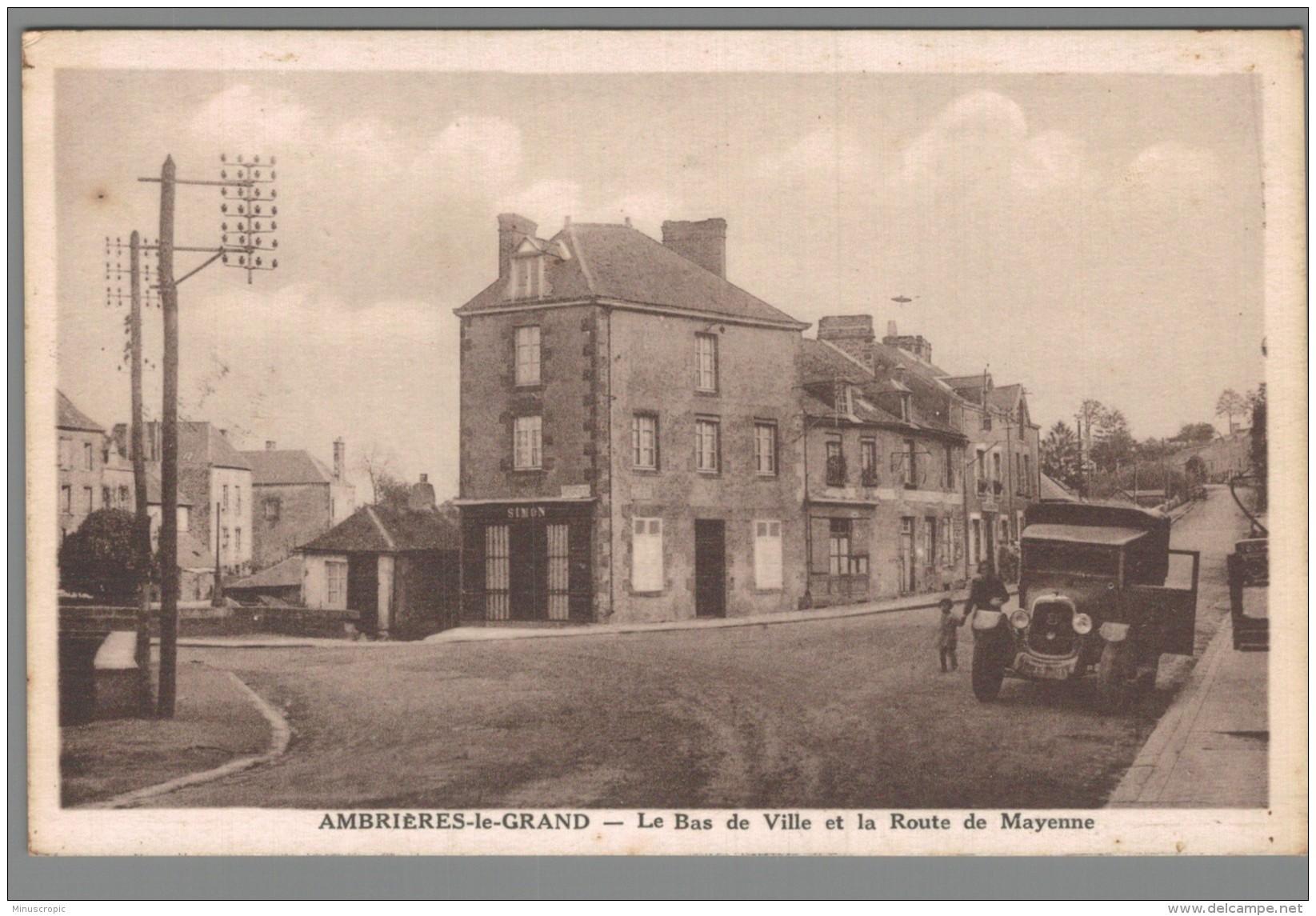 CPA 53 - Ambrières Le Grand - Le Bas De Ville Et La Route De Mayenne - Ambrieres Les Vallees