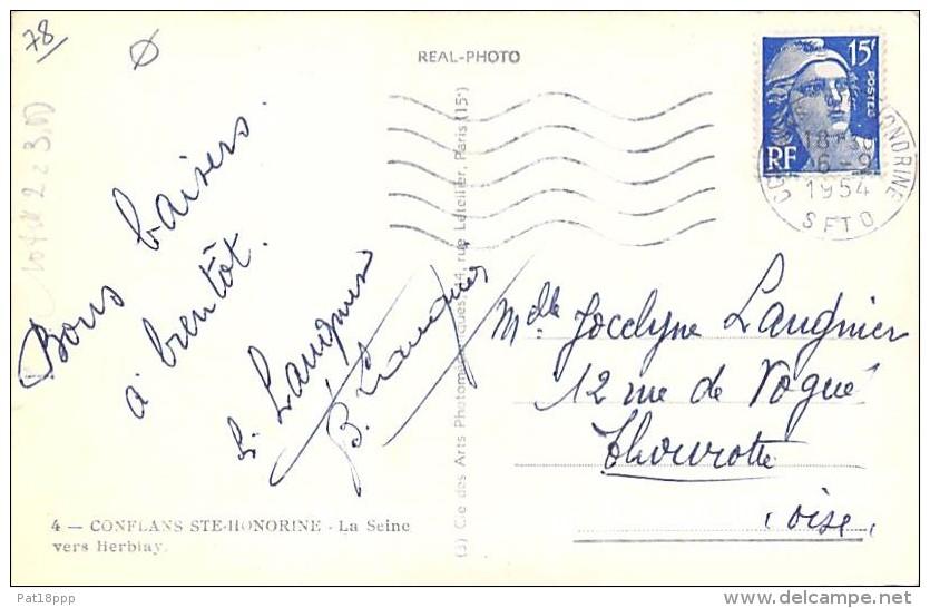 ** Lot De 2 Cartes ** 78 - CONFLANS STE HONORINE Deux Vues Aériennes ... CPSM Dentelée Noir Blanc Format CPA - Yvelines - Conflans Saint Honorine