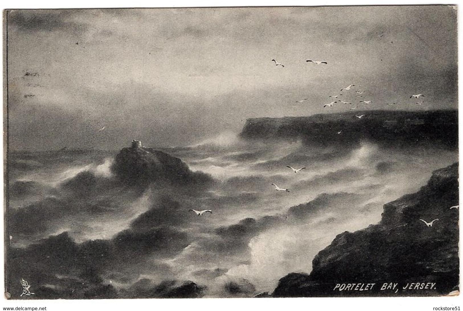 Raphael Tuck Portlet Bay Jersey Rough Sea Series - Tuck, Raphael