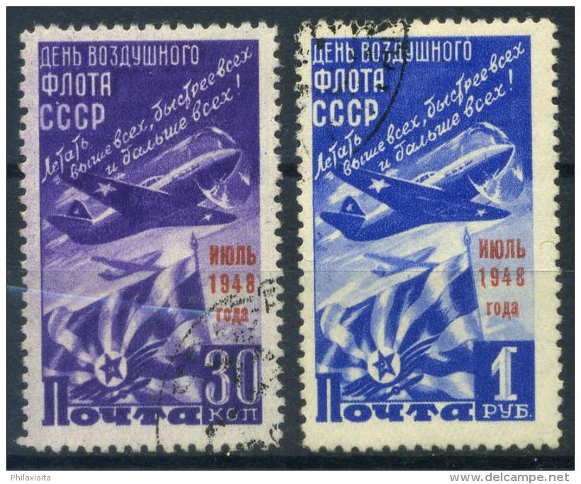 Unione Sovietica 1948 Mi. 1239-1240 Usato 100% Soprastampato , Aviazione - 1923-1991 USSR