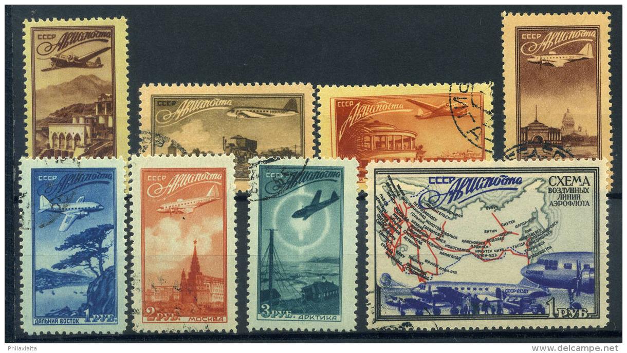Unione Sovietica 1949 Mi. 1401-1408 Usato 100% Aerei In Volo E Vedute - 1923-1991 USSR