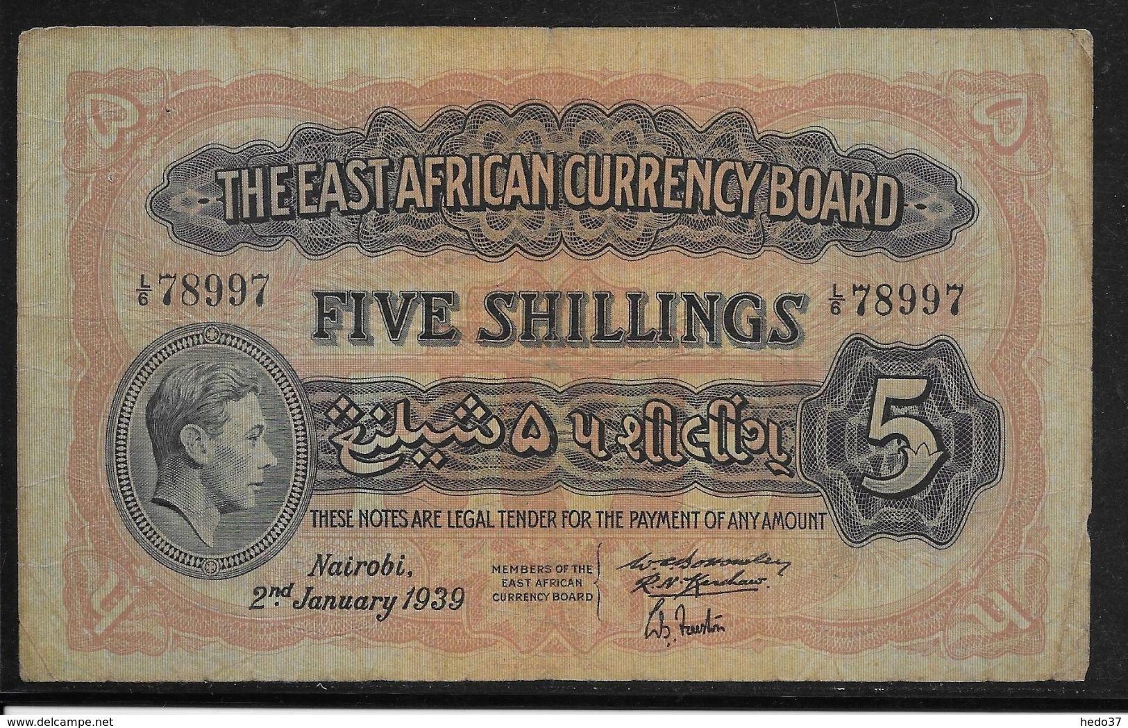 Kenya -  5 Schillings - 2-1-1939 - TB - Kenya
