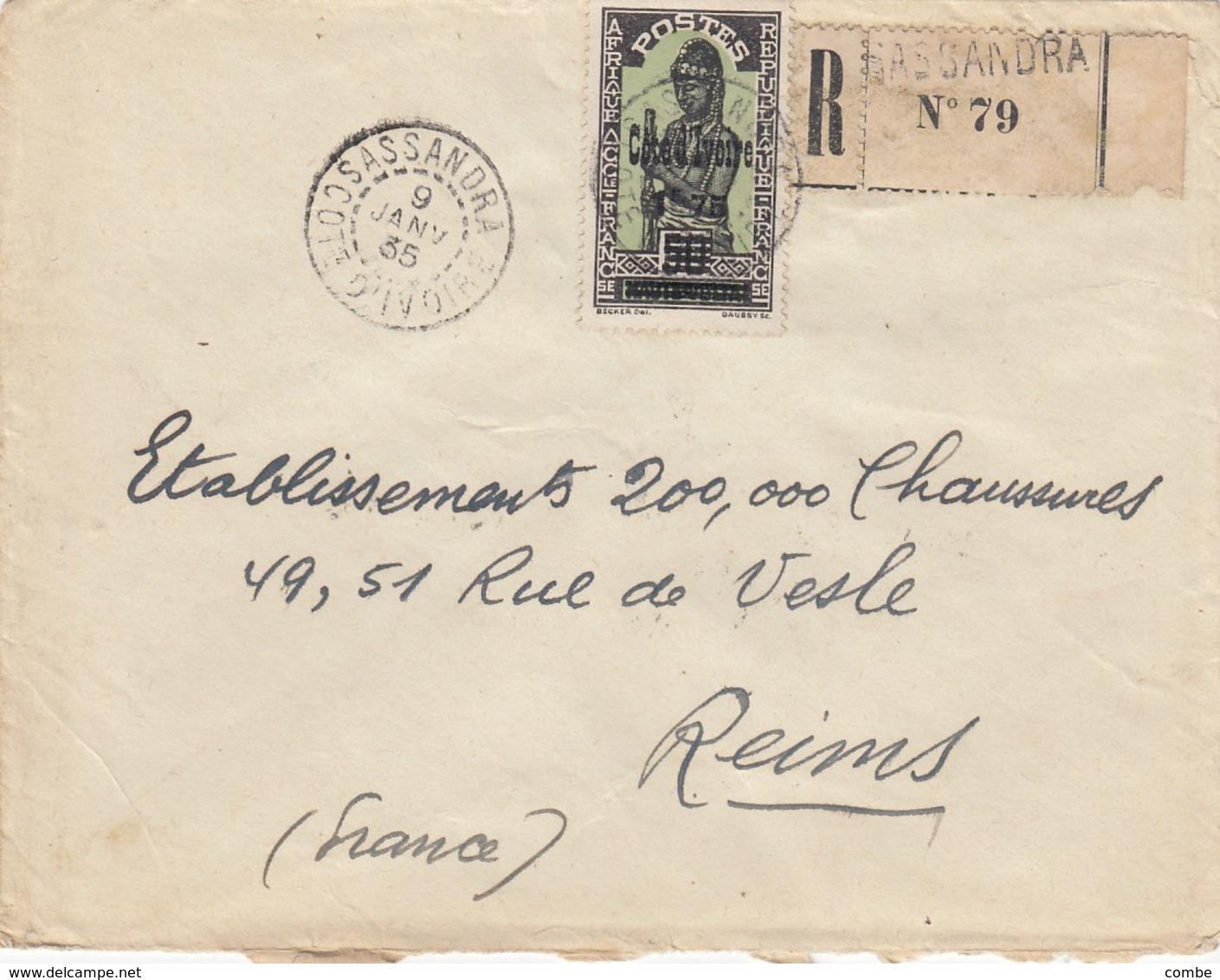 LETTRE COTE D'IVOIRE. 9 1 35. RECOMMANDÉ SASSANDRA POUR LA FRANCE.  / 2 - Côte-d'Ivoire (1892-1944)
