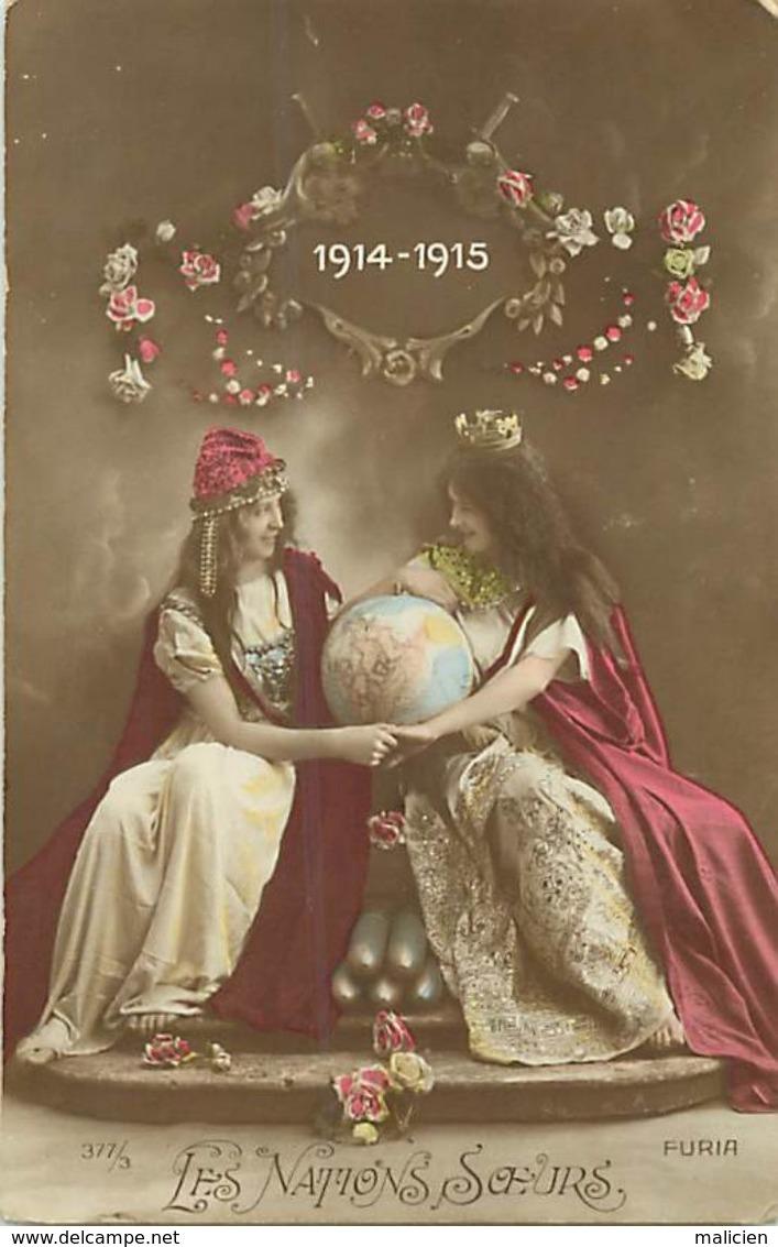 - Themes - Ref-A460- Guerre 1914-18- Nations Soeurs - 1914-1915 - Mappemonde - - Patriotiques
