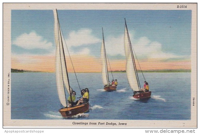 Iowa Greetings From Fort Dodge Sailing Curteich