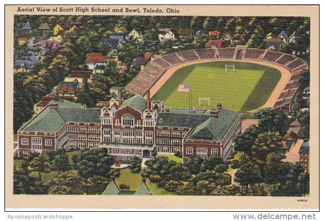 Ohio Toledo Aerial View Of Scott High School and Stadium