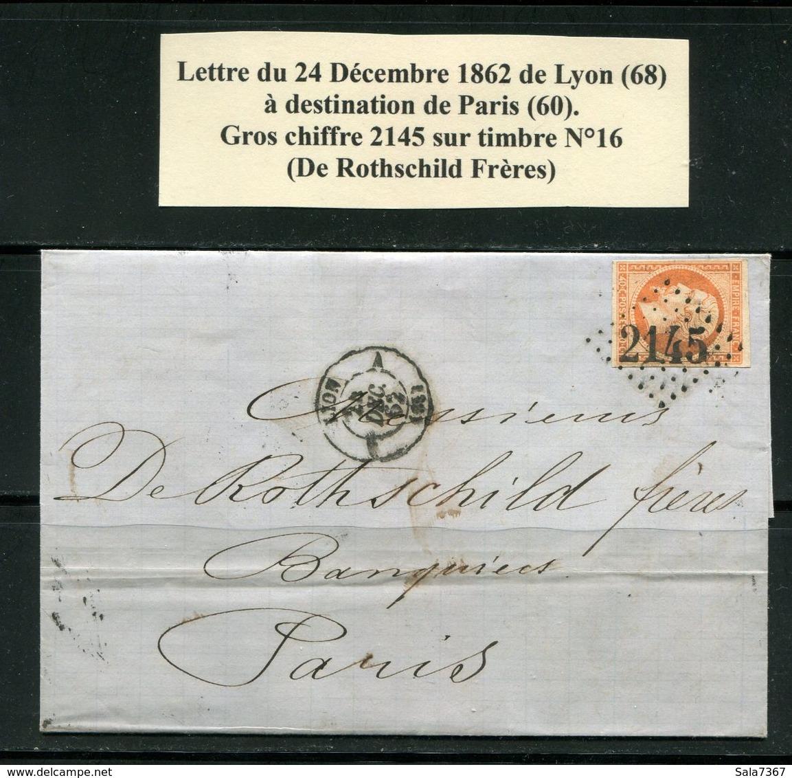 Lettre De 1862 De LYON 68 Pour PARIS 60- Timbre Y&T N°16- GC 2145-De Rothschild Frères - 1849-1876: Classic Period