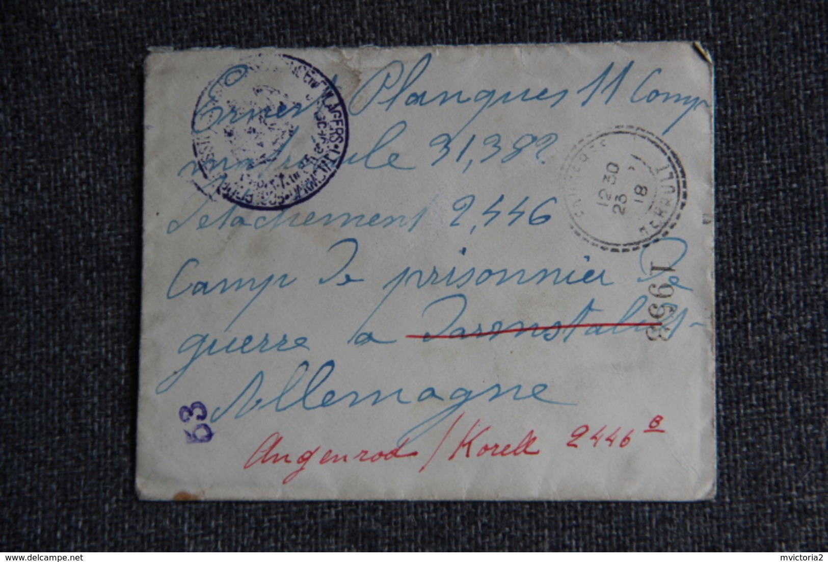 Lettre Adressée à Un Prisonnier Au Camp De DARMSTADT En ALLEMAGNE En 1918 - Marcophilie (Lettres)