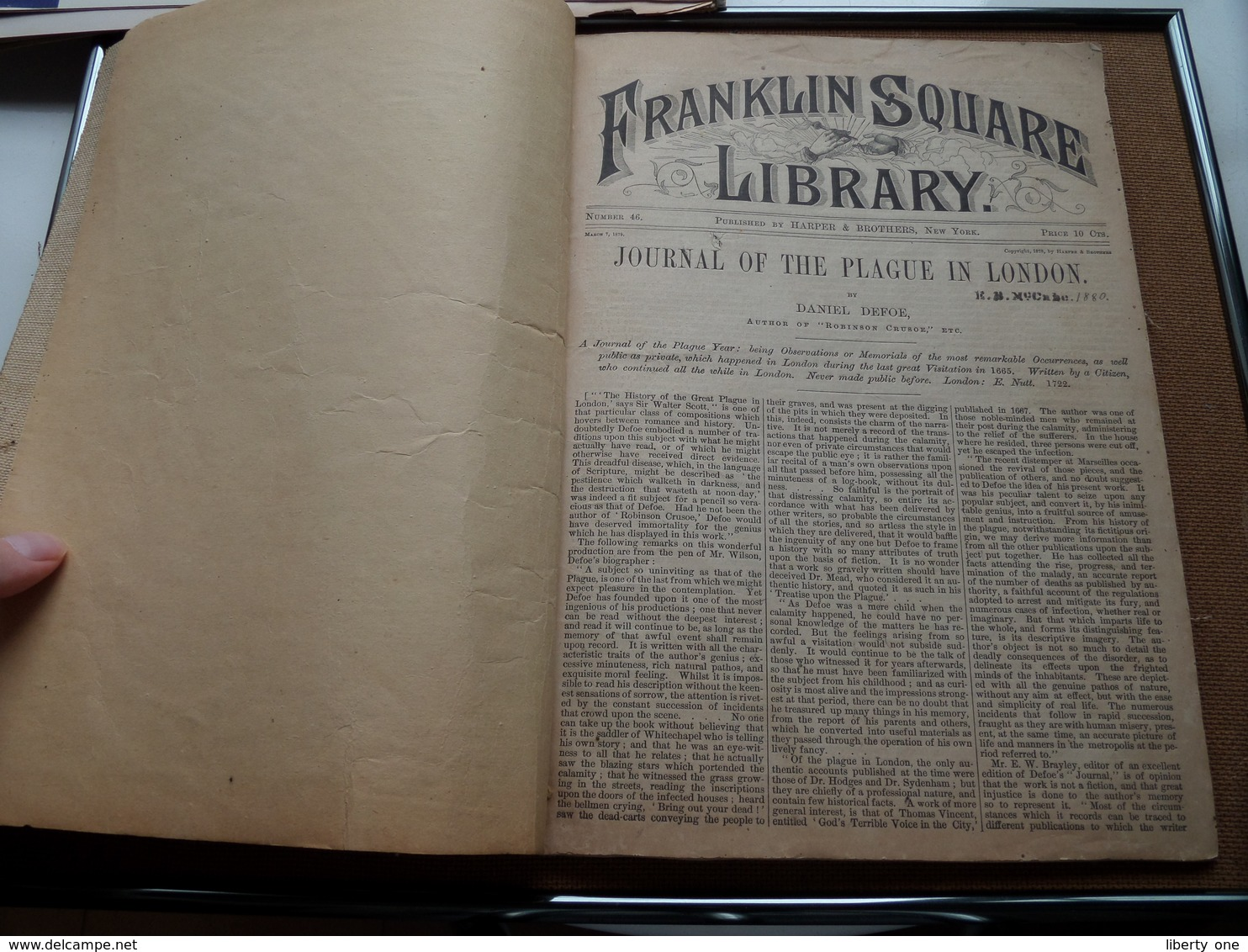 JOURNAL Of The PLAGUE In LONDON - FRANKLIN SQUARE LIBRARY ( Harper & Brothers N.Y. ) ( Number 46 ) 1880 - Zie Foto's ! - Boeken, Tijdschriften, Stripverhalen