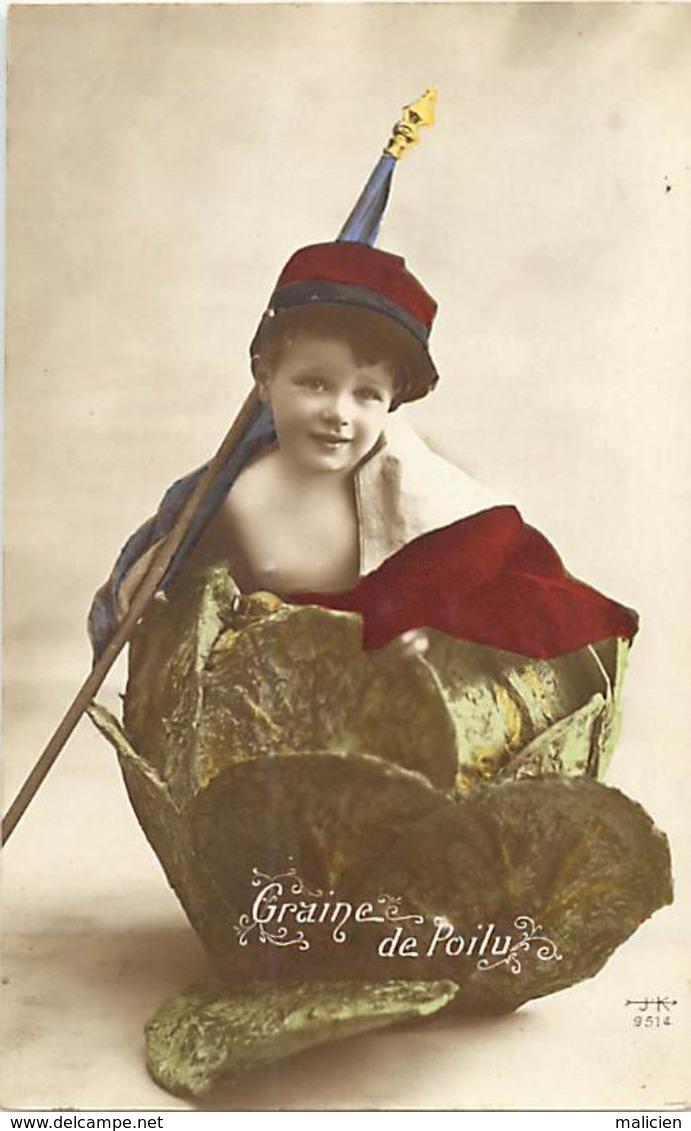 - Themes - Ref-A438- Guerre 1914-18 - Patriotique - Graine De Poilu - Enfant Dans Chou Et Drapeau - Carte Bon Etat - - Patriotiques