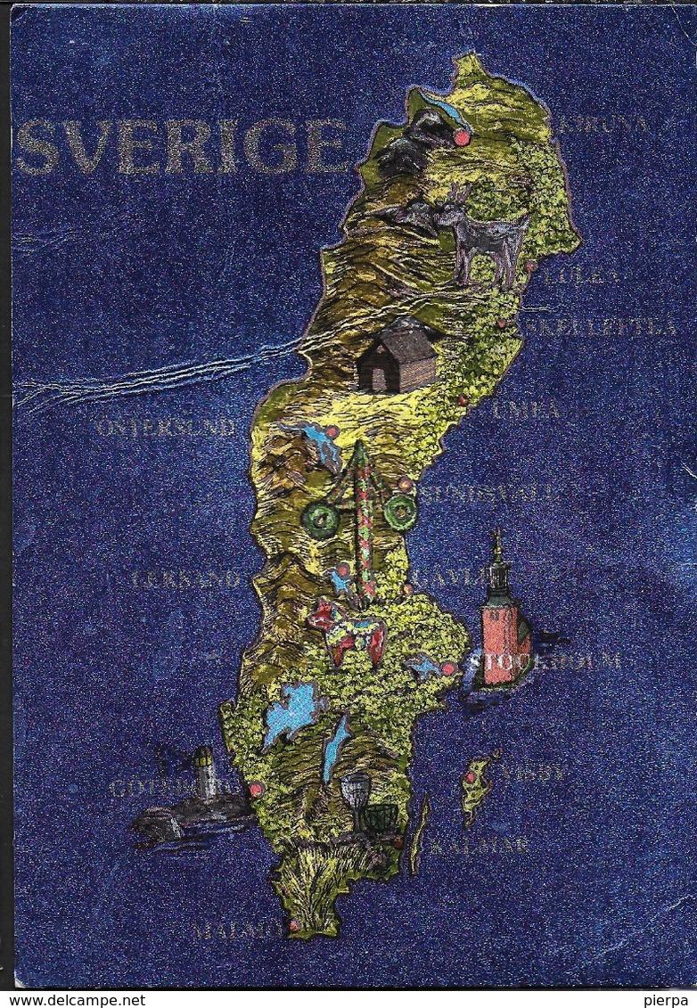 SVEZIA - MAPPA - CARTOLINA CROMATICA -VIAGGIATA 1991 FRANCOBOLLO ASPORTATO - Cartoline