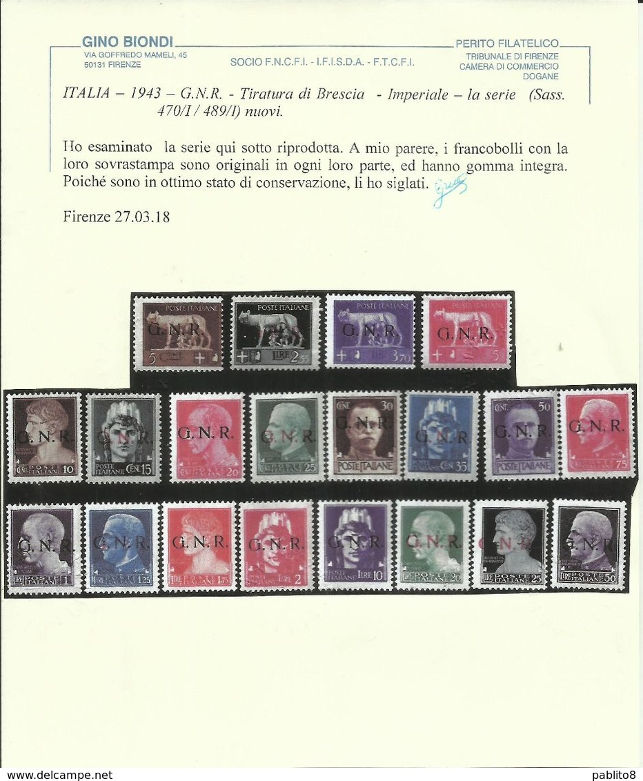 ITALIA REGNO ITALY KINGDOM REPUBBLICA SOCIALE 1944 RSI GNR BRESCIA SERIE COMPLETA COMPLETE SET MNH CERTIFICATO - Ongebruikt
